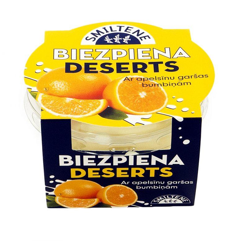Biezpiena deserts ar apelsīnu sulas bumbiņām