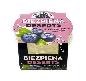 Biezpiena deserts ar melleņu sulas bumbiņām
